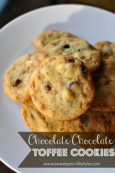 Chocolate Chocolate Toffee Cookies