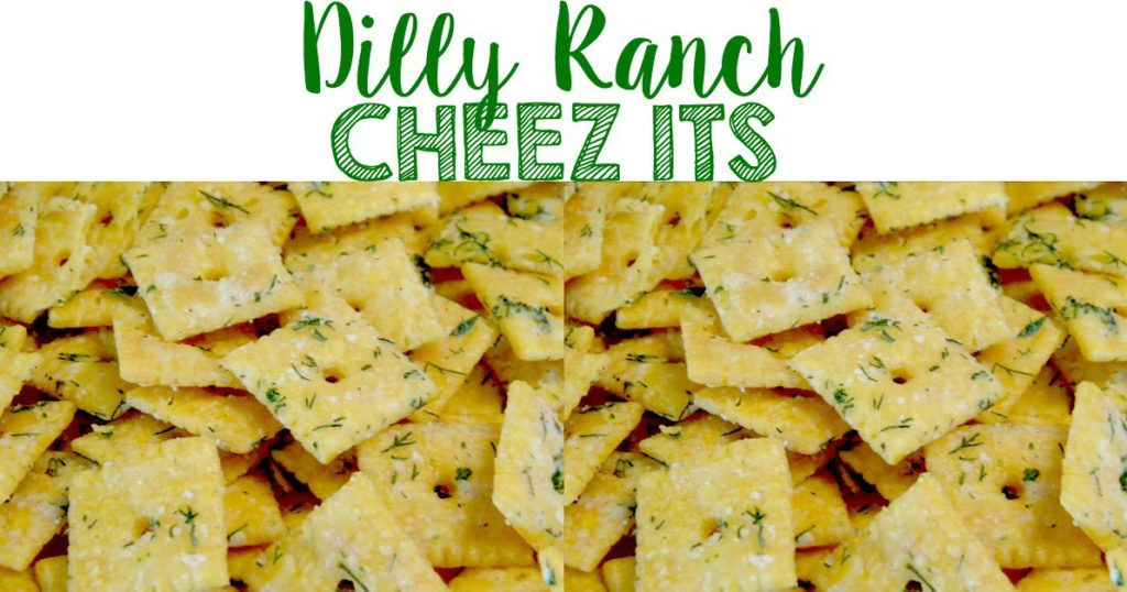 Crispy cheese crackers are coated with ranch seasoning and fresh dill, creating an irresistible snack!