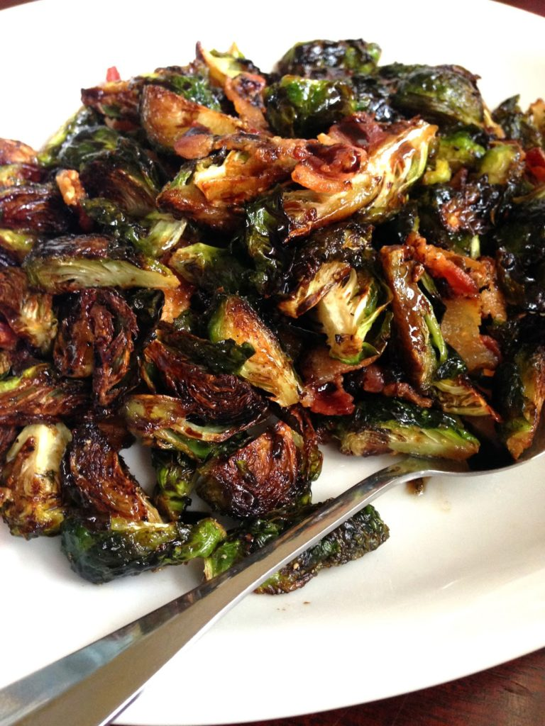 brussels sprouts roasted with bacon and balsamic vinegar