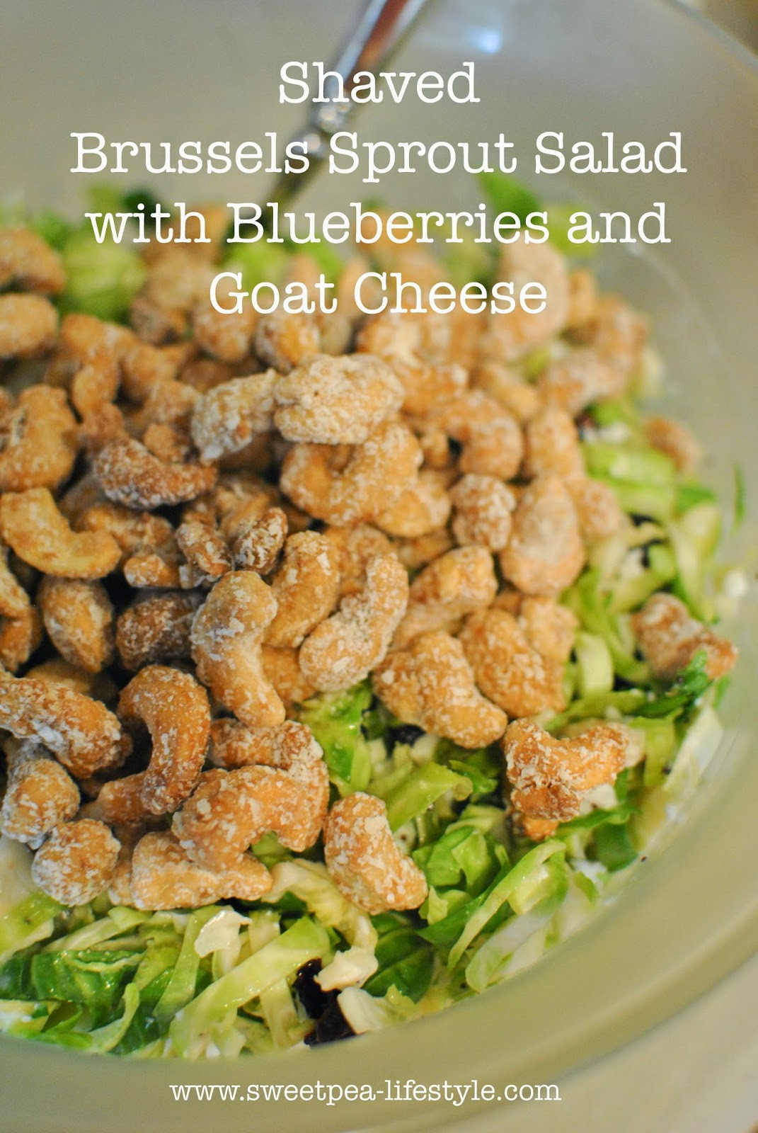 Summer with Trader Joe's Week #2 SALADS: Sweetpea's Brussels Sprout Salad with Blueberries and Goat Cheese