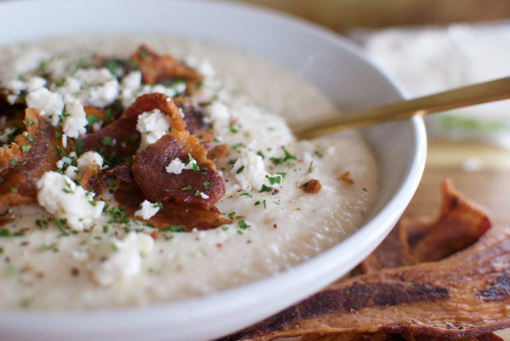 These goat cheese grits are a southern staple comfort food.