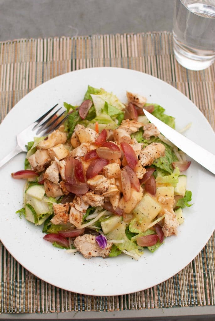 easy chicken salad with lots of veggies and fruit