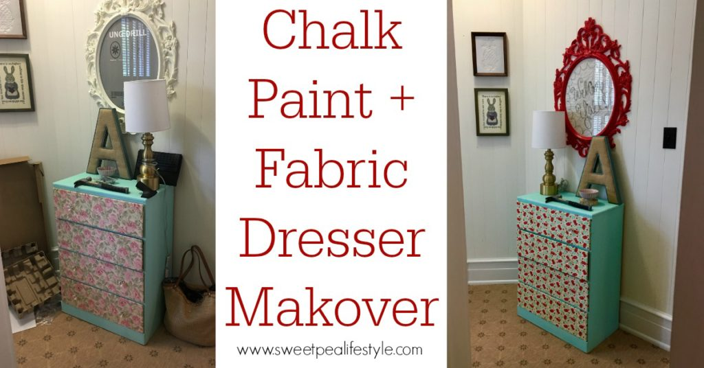 dresser makeover with chalk paint and fabric