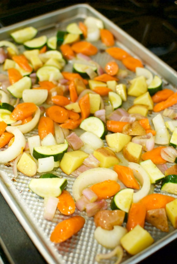 A jelly roll pan is essential to properly roasted vegetables