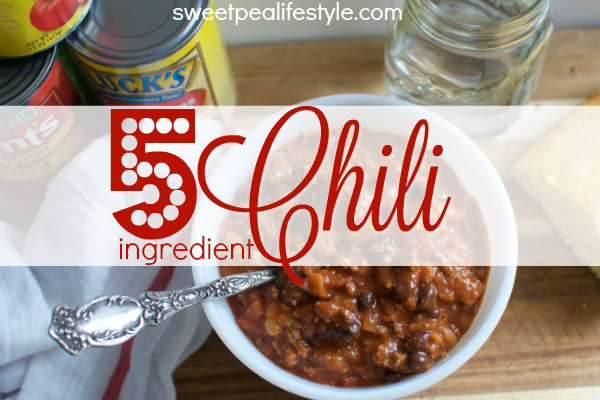 This chili recipe has only five ingredients! Using what you have in your pantry, and dinner is on the table in less than half an hour!
