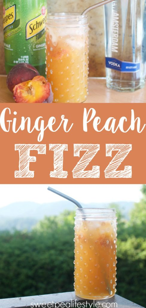 Easy cocktail recipe with ginger ale, peaches, and vodka