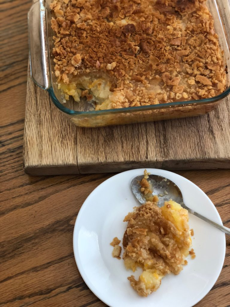 pineapple cheese casserole, side dish idea, casserole recipe