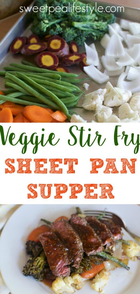 A quick and easy dinner idea with veggie stir fry sheet pan supper