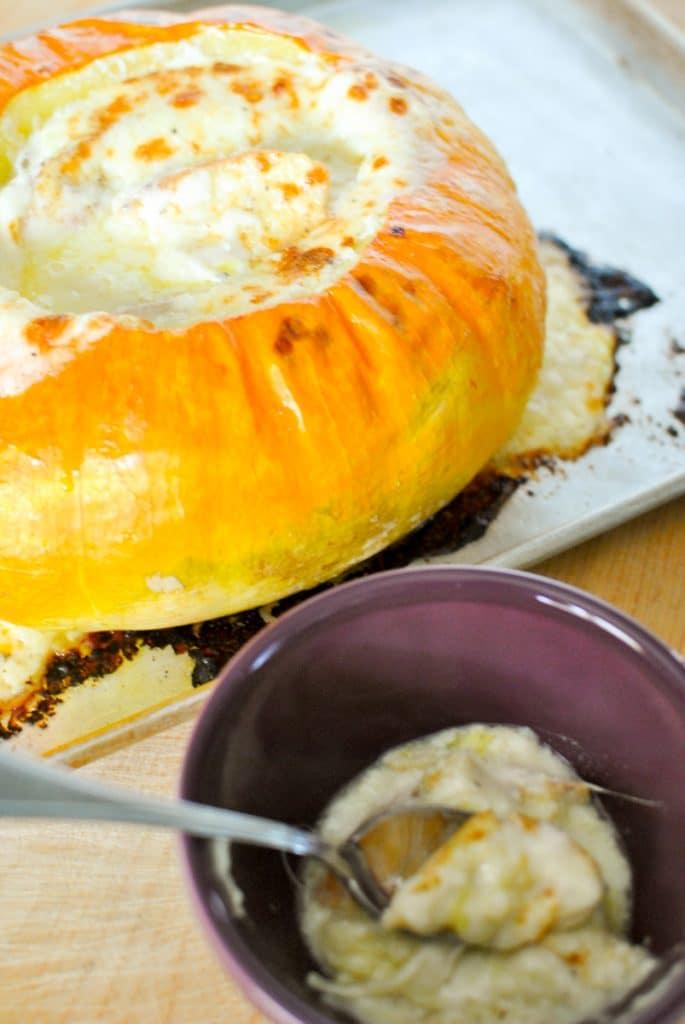 Fondue inside a Pumpkin
