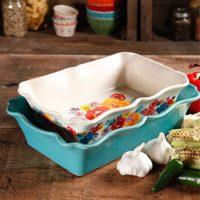The Pioneer Woman Flea Market 2-Piece Decorated Rectangular Ruffle Top Ceramic Bakeware Set