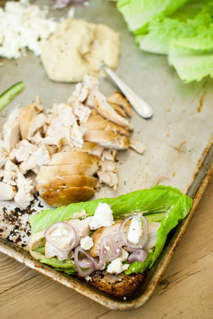 greek chicken lettuce wrap idea