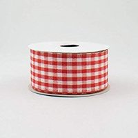 Red White Gingham Check Wired Ribbon (1.5 Inch x 10 Yards) : RG01048F3