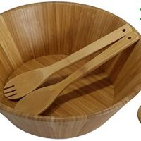 "Large salad bowl. Mixing bowls. 14"" Bamboo bowl with serving spoons and dressing tray. Serving bowls. Prep bowls. Fruit bowl. Mixing bowl set. Wooden basket. Salad bowl set."