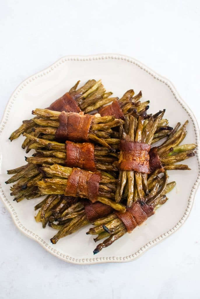 bacon wrapped green bean bundles with honey balsamic glaze