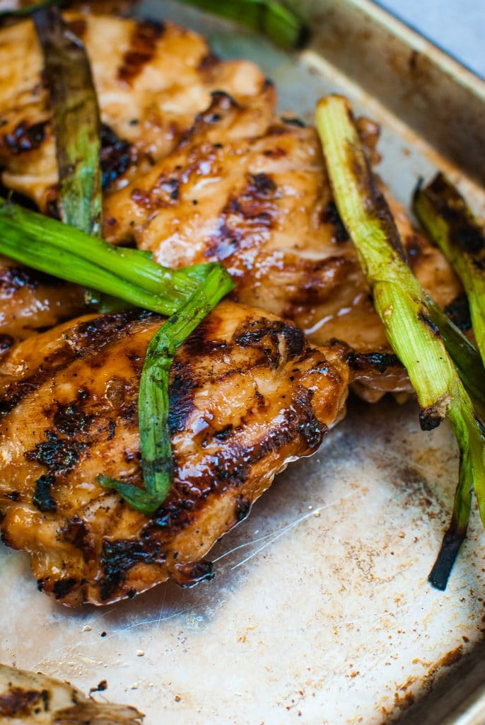 Chicken grilled green onions