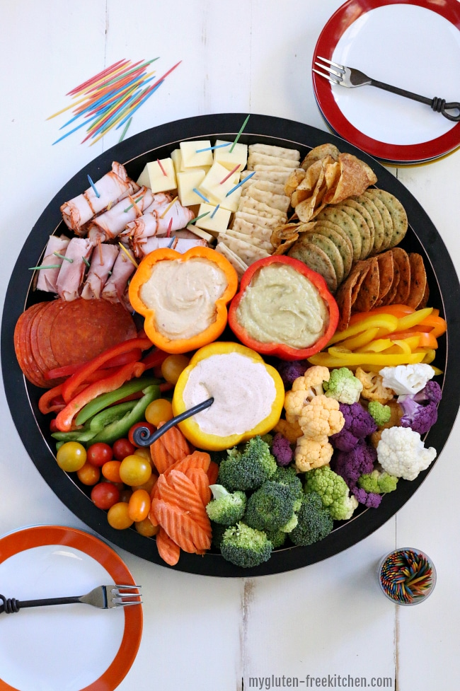 Gluten-free Veggie, Meat, and Cheese Tray with Sour Cream Taco Dip