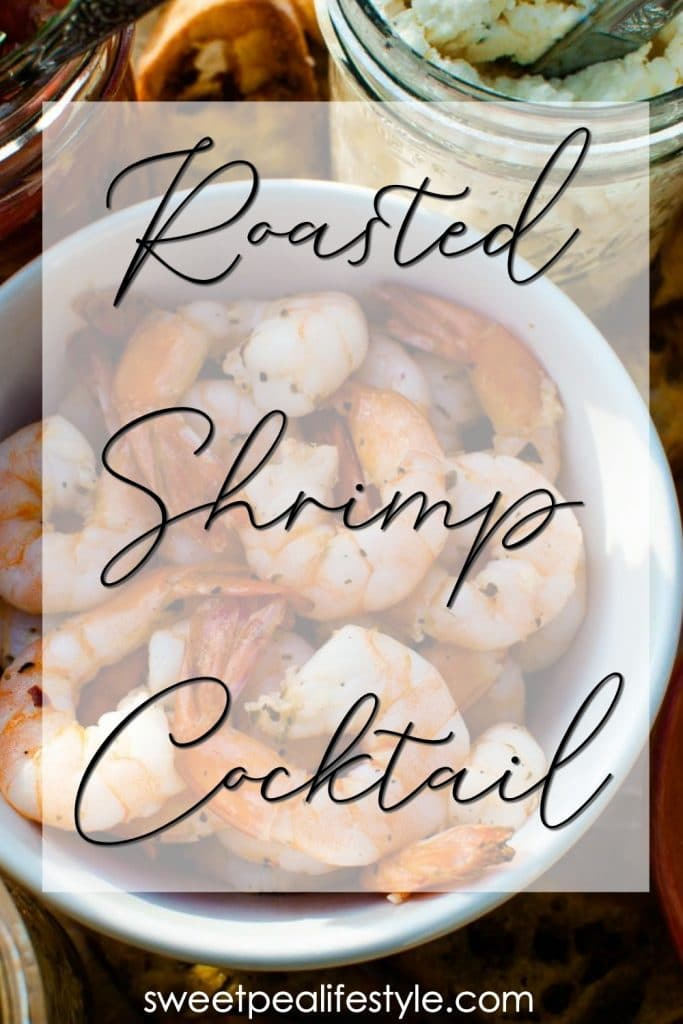 Roasted Shrimp Cocktail is an easy summer appetizer recipe! Garlic and herbs coat the shrimp that are quickly roasted, and served with a homemade cocktail sauce.