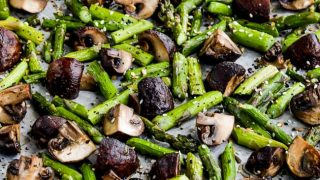 Roasted Asparagus and Mushrooms with Everything Bagel Seasoning