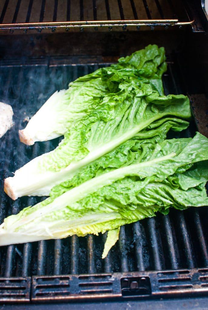 grilling lettuce for salad