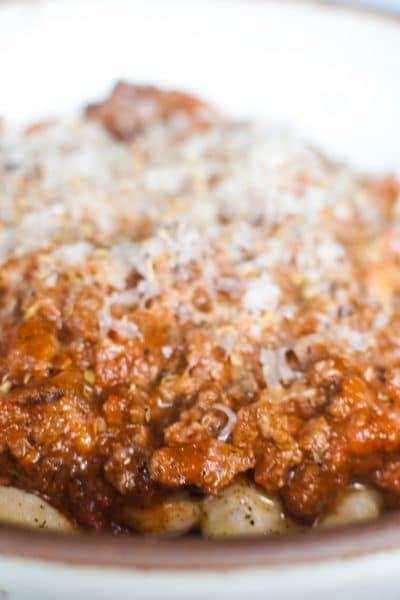 Easy Gnocchi Bolognese