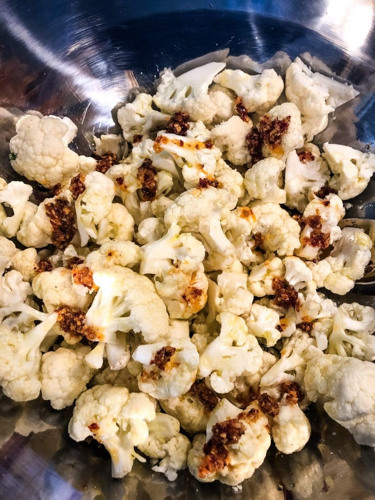 cauliflower with chili onion crunch