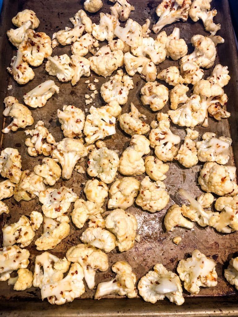 cauliflower on a sheet pan