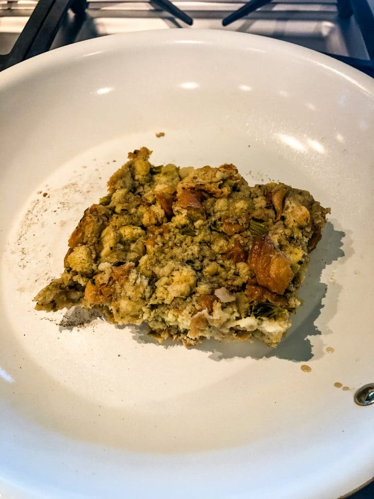 Stuffing in a pan