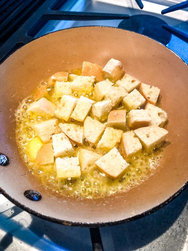 croutons in a skillet