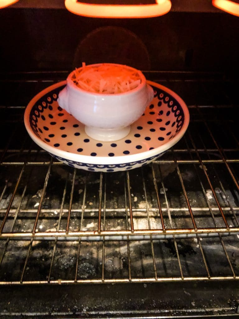 french onion soup with gruyere in the broiler