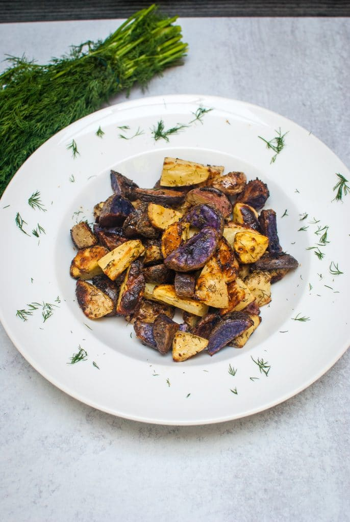 Roasted Purple Potatoes with Ranch