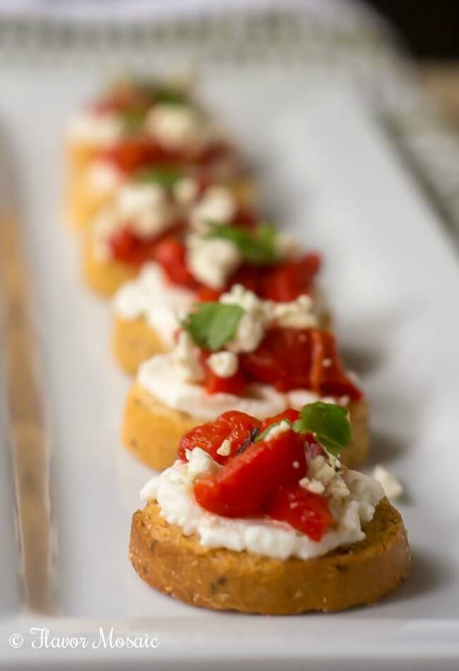 Roasted Red Pepper Ricotta Crostini - Flavor Mosaic