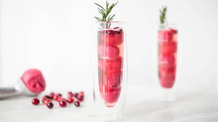 Christmas Cranberry Sorbet Rosé Mimosa Recipe