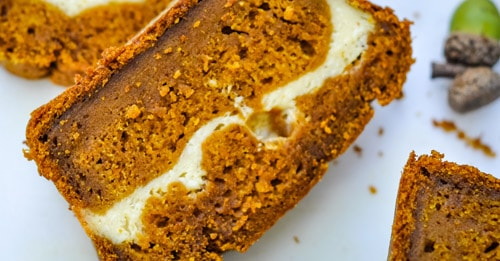 Easy Pumpkin Cream Cheese Bread (moist & low in sugar!)