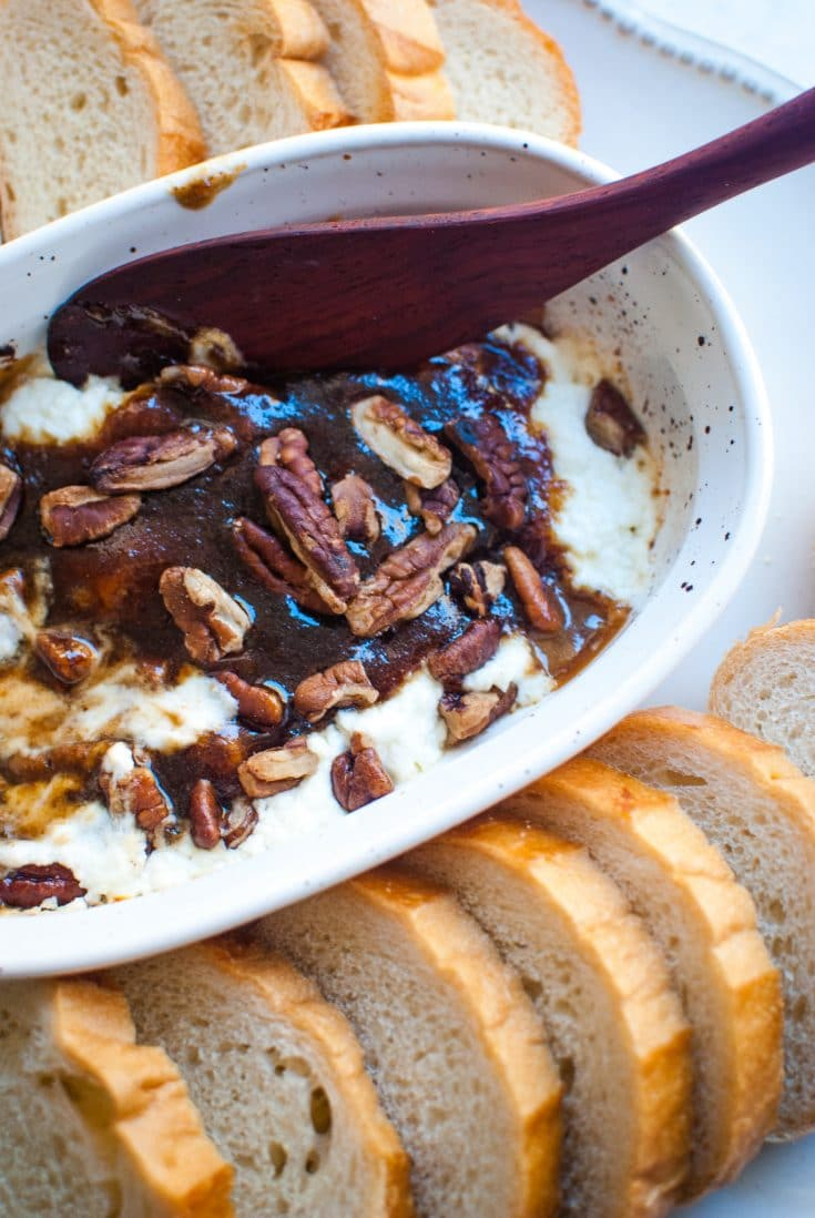 brown sugar and spice glazed goat cheese