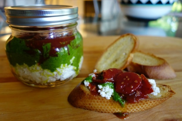 Tomato Jam, Pesto, & Ricotta Jar
