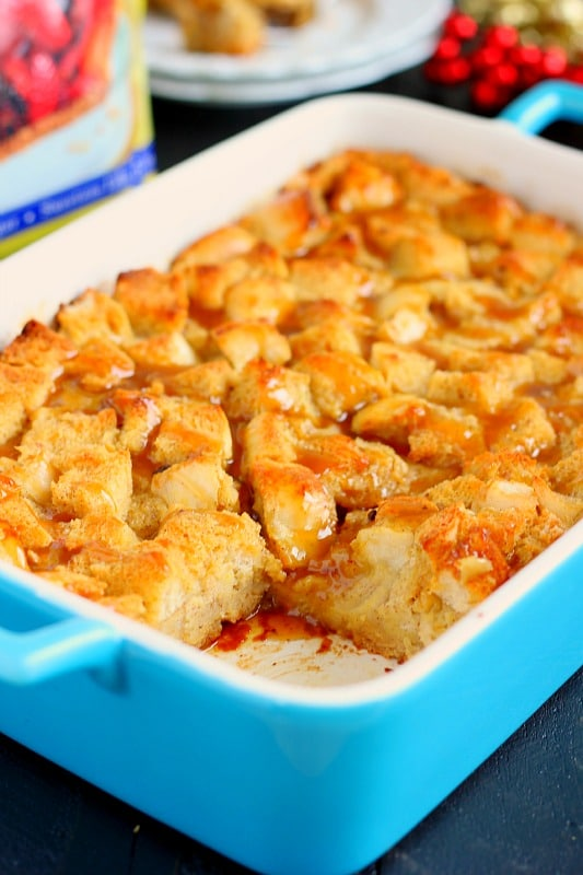 Eggnog French Toast Bake with Caramel