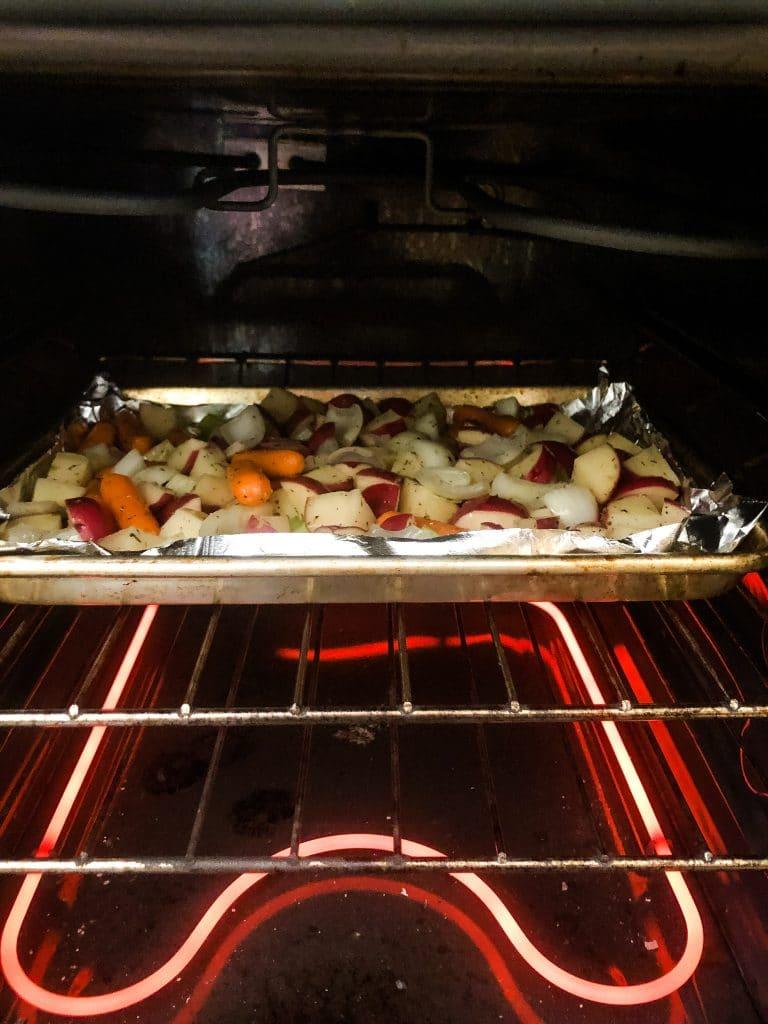 root veggies in the oven