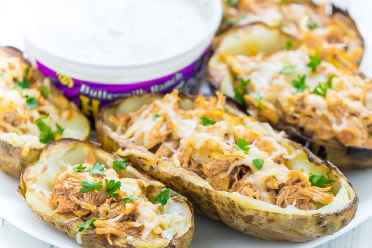 Buffalo Chicken Stuffed Potato Skins Recipe