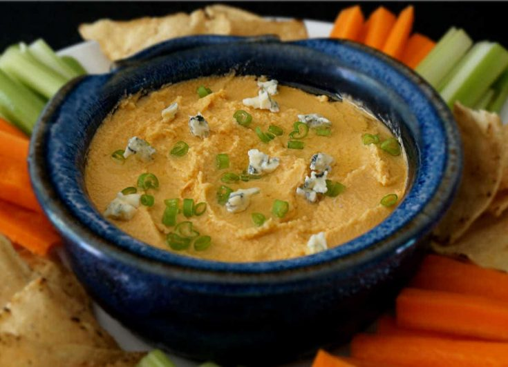 Buffalo Blue Cheese Hummus Dip
