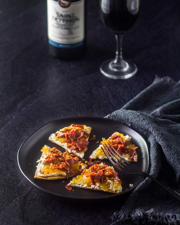 Fig Jam and Bleu Cheese Flatbread with Crispy Prosciutto