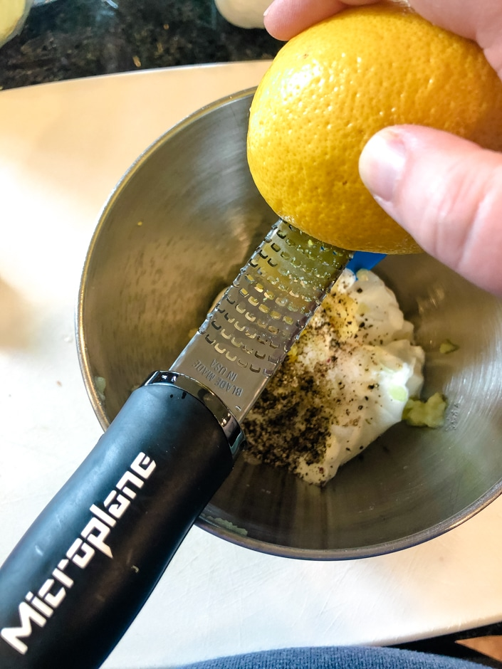Grating lemon zest