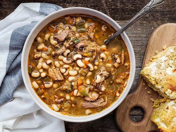 Hearty Pulled Pork & Green Chile Black-Eyed Pea Soup