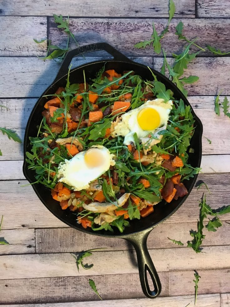 Braised Rabbit Hash with Bacon and Arugula