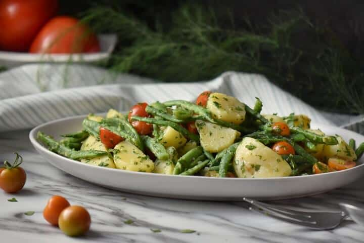 Italian Potato Salad with Green Beans and NO mayo!