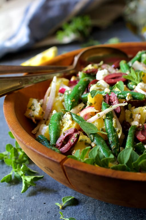 Potato Green Bean Salad with Olives and Feta Cheese