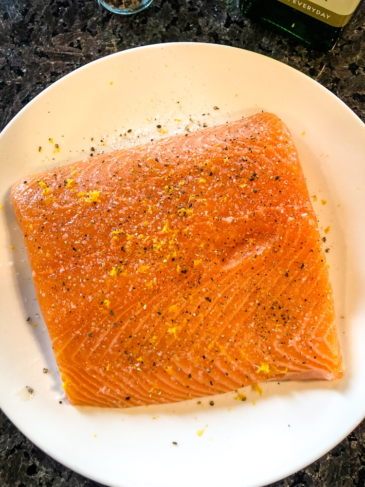 Salmon topped with Lemon Pepper