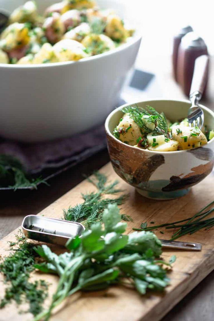 vegan potato salad with herbs