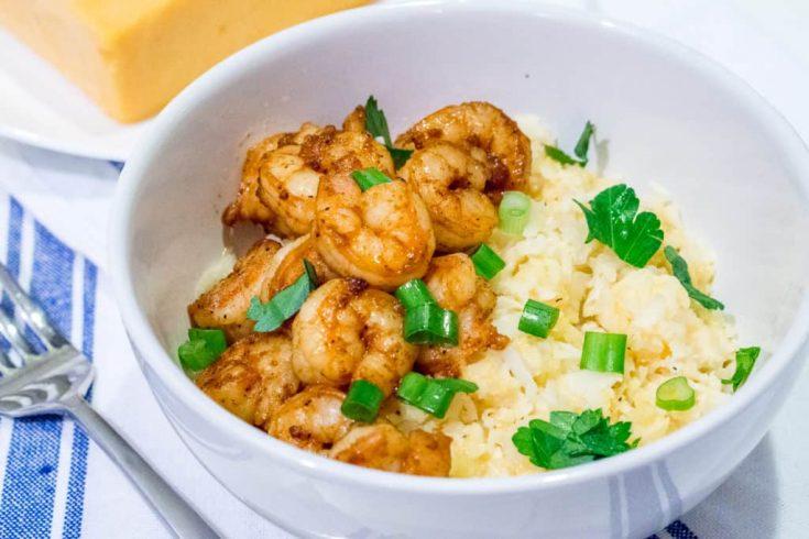 Cajun Shrimp and Cheesy Cauliflower Grits