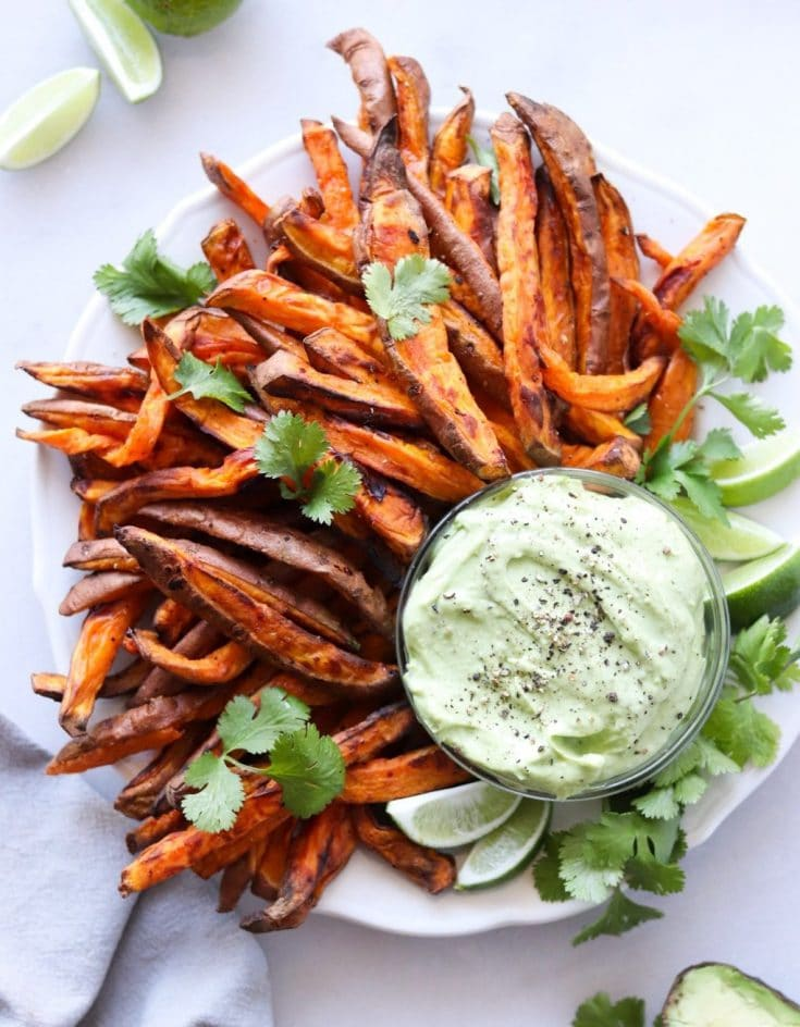 Air Fryer Sweet Potato Fries with Avocado Aioli