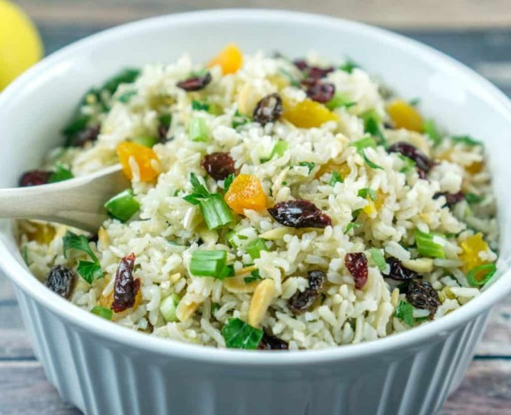 Vegan Brown Rice Salad with Nuts and Dried Fruit